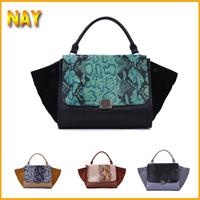Quality Guaranteed !!Crocodile Stylish Trapeze Big Ears Apparitions Of Bag+ Smiley Bag +genuine leather Dumplings Bag