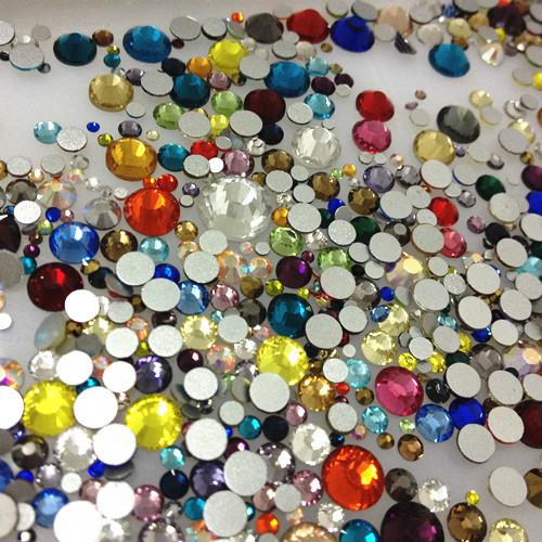 MIXED SIZES COLORS 330pcs 2028 2058 Flatback Glass Crystal Non Hotfix Rhinestone Nail Art(China (Mainland))