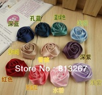 Free Shipping Wholesale DIY handmade Silk Ribbon Artificial Rose Flower Bud For Hair Accessories Bag Brooch Ornament Mixed Color