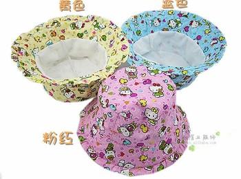 Multi-color Free Ship- Kids Hats, Children's Hats, cute hello cartoon kitty girls bucket hats,Baby sun cap children visor S167