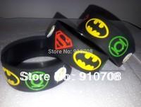 2014  New  superhero  band  Superman, Batman, Green Lantern, The flash wristband,  superhero silicone  bracelet    free shipping