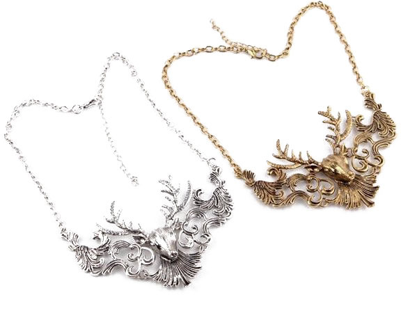 Animal pendant necklace retro avatar popular short-chain ancient bronze silver Fashion jewelry wholesale deer necklace(China (Mainland))