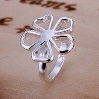 Free Shipping 925 Sterling Silver Ring Fine Fashion Flower Silver Jewelry Ring Women&Men Gift Finger Rings SMTR015