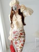S-XXL  free shipping fashion womens elegant slim double layers ruffles shirts ladies slim business OL blouse long sleeve shirts