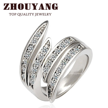 ZYR114 Life Together Crystal  Ring 18K Platinum Plated Made with Genuine Austrian Crystals Full Sizes Wholesale