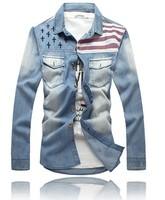 man spring 2014 Men's Shirts flag vintage denim long-sleeve shirt male,mens dress shirts,camisa masculina