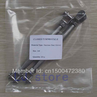 """M8/(5/16"""") Thread Stainless Steel 304 Closed Body Turnbuckle Rigging screw Jaw & Jaw  2Pcs"""