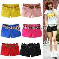 2014 Summer Women Sexy Casual Sport Fashion Low Waist Slim Elastic Hot Shorts 9 Candy Colors Plus Size S/M/L/XL/2XL/3XL