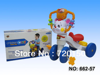 Free shipping,ride on bike children tricycle,animal shape+4 wheels+flashing handgrip+music+light+instruction book to children