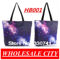 NDB Cosmic Starry Printing Shopping Canvas Shoulder Bag Folded Fashion Green bags