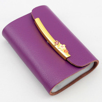 High quality Genuine Leather women's Card case , Fashion Plum buckle Card holder cc01