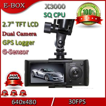 2014 New X3000 Dual Lens Car DVR Recorder Camera GPS G-Sensor  2.7 Inch LCD 140 Degree View Angle Drop Free Shipping