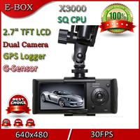 "Free Shipping X3000 Car DVR Recorder Dual Camera+GPS Logger 2.7""LCD G-Sensor 120 Degree View Angle Dash Cam"