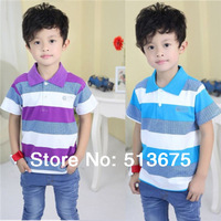 Free Shipping 2014 Summer new short-sleeved cotton boy t-shirt children's baby clothes colorful striped shirt t- camisa