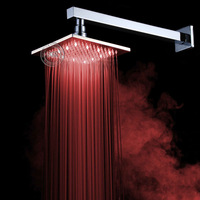 Luxury Brass New LED Light Round Rainfall Rain Shower Head Bathroom Bath Top shower with arm BR-8800A