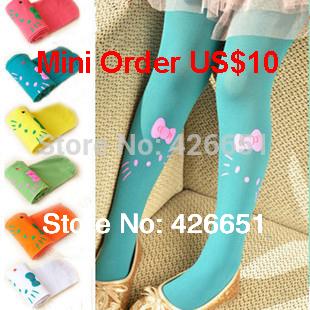 Mini order US$10 baby girl child kids female pantyhose stocking velvet hello kitty cat dance legging(China (Mainland))