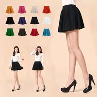Skater Stretch Waist Plain Flippy Flared Pleated Jersey Short Skirt Sundress