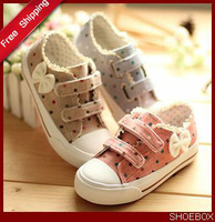 Free shipping 2013  children shoes girls canvas child shoes sport  velcro polka dot breathable spring autumn shoes BS0033