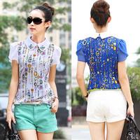 2014 Summer Plus Size Clothing Fashion Ladies Casual Beading Peter Pan Collar Short-Sleeve Chiffon Shirt Blouse Fress Shipping