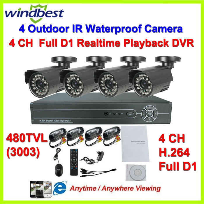 480TVL Camera Surveillance Video System Home 4CH Full D1 H.264 DVR Kit CCTV Night Weatherproof Security DIY CCTV Camera System(China (Mainland))