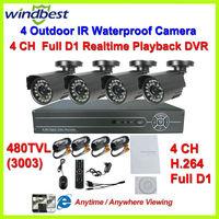 480TVL Camera Surveillance Video System Home 4CH Full D1 H.264 DVR Kit CCTV Night Weatherproof Security DIY CCTV Camera System