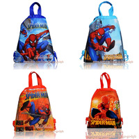 2013 New Arrival - 4Pcs Spider Man Cartoon Drawstring Backpack kids tote School bags ,Non-woven Material Kids Party Favor