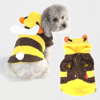 Hot sale Honybee pet dog hoodie autumn & winter costume clothes Cotton velveteen material Tidy teddy bear wearing Free Shipping