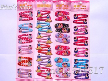 Free Shipping Dots snow white Hair Clips Princess baby Barrette for girls  Lots  Mix Color