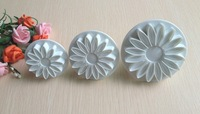 Free shipping 3PCS Lotus shape cake cookies machine plunger paste sugar craft decorating tools