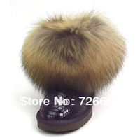 Free shipping Donna Feel 5854 Cowhide fox fur snow boots female money multicolor selectable Size: 5,6,7,8,9,10