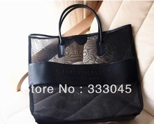 FREE shipping women fashion black grid brand handbag designer clutch bag luxury shoulder bag casual beach bag evening purse tote(China (Mainland))