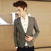 Mens Autumn fashion casual style jacket Slim Fit blazer Cotton blend fabric Grey color prom suit jackets Hot Sale Free Shipping