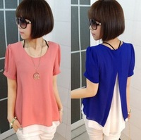 FREE SHIPPING blouse 2013 spring and summer new large size women's fashion with the short  sleeves fake two-piece chiffon shirt