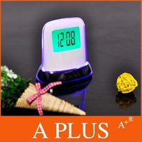 EMS Freeshipping 50 PCS/Lot 7 LED Colour Digital ALARM CLOCK & THERMOMETER Factory Price A PLUS