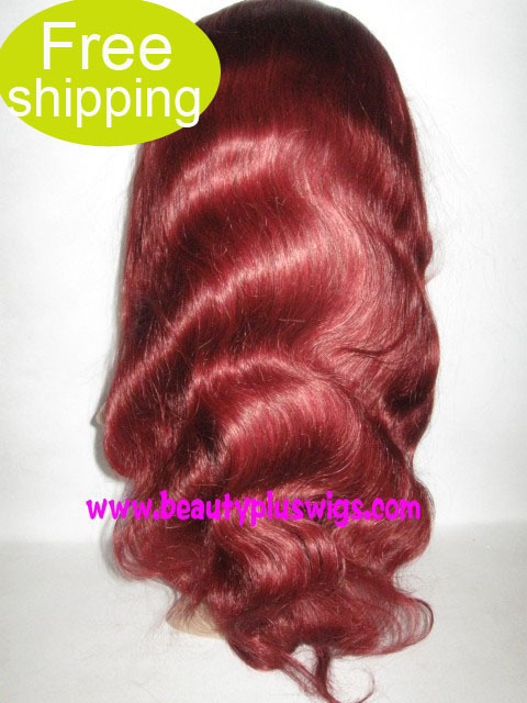 "Free shipping and Gift for top quality Indian remy hair 18"" red color body wave full lace wig(China (Mainland))"