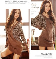 High Quality New Winter Dress 2014 Fashion Women O-Neck Bat Sleeve Sexy Leopard Dress Plus SizeCasual Dress DS001