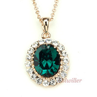 Free Shipping Italina Rigant Fashion Jewelery Wholesale 18K Gold plated Crystal Necklace, Austrian Crystal Necklace Gift