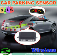 Free Shipping Car Wireless Parking Sensor Reverse Auto Parking Radar System with 4 sensors LED Display the obstacle distance