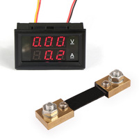 DC 100V 100A 2in1 digital led voltmeter Ammeter Red Dual Display Volt Ampere Meter With Resistive Shunt