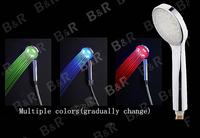 B&R Freeshipping  Fashion three color chuveiro hand held shower head  led shower head  B-1008