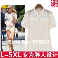 3XL 4XL 5XL 2014 Women Fashion Plus Size Short Sleeve Lace Chiffon Shirt  Women Clothing Blouse L-XXXXXL