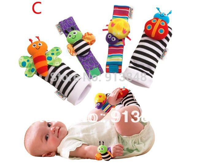 Free shipping 4pcs/lot baby rattle toys Lamaze Garden Bug Wrist Rattle and Foot Socks plush baby toys very high qulity(China (Mainland))
