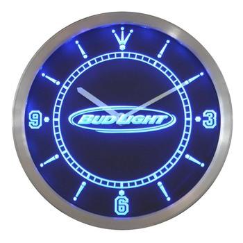 nc0466 Bud Light Beer Neon Sign LED Wall Clock