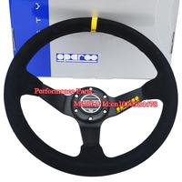 Newest Sparko Steering Wheel Racing Car Steering Wheel Suede Sport Steering Wheel Deep Dish 350mm