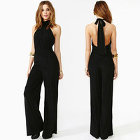 Free shipping women's jumpsuit with chest with hollow out bow decoration sleeveless halter wrapped chest D119