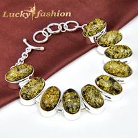 Luckyshine Brand New Season Popular Jewelry Silver 925 Chain Link Bracelet Oval Amber bracelets & bangles