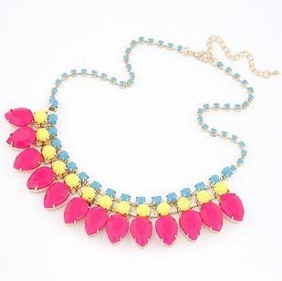 Fashion Women Jewelry Temperament Statement Choker Fluorescent Color Gem Crystal Bead Rhinestone Collar Necklaces&Pendants  A490