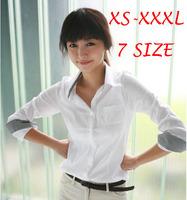 New 2014 Spring Women Blouses Autumn White Long Sleeve Plaid Shirt Girls Work Wear Plus Size Femininas Blusas Women Clothing