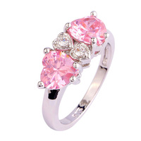 Wholesale Heart Cut Pink Topaz & White Topaz 925 Silver Ring Size 7 8 9 10 Fashion Popular Love Style Gift Free Shipping