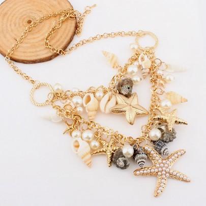 Bohemia Ocean Shell Starfish Pearl Gold Layered Choker Collar Statement Necklaces & Pendants 2014 New Fashion Jewelry Women N72(China (Mainland))